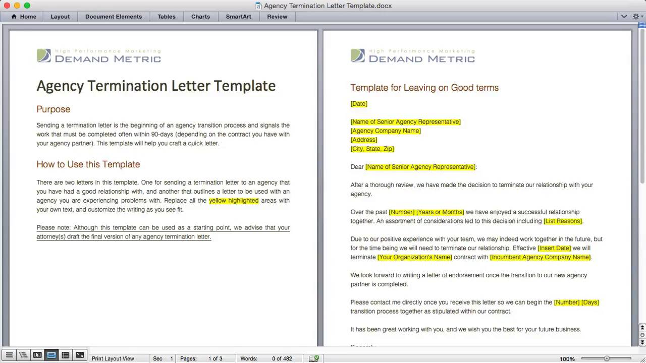 Agency termination letter template demand metric altavistaventures Image collections