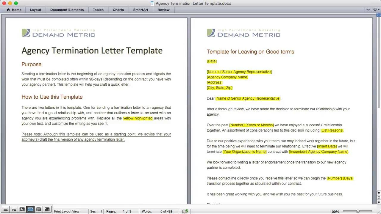 Agency Termination Letter Template Demand Metric