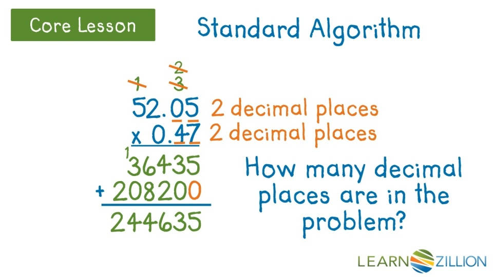 Multiply Multi Digit Decimals Using The Standard Algorithm