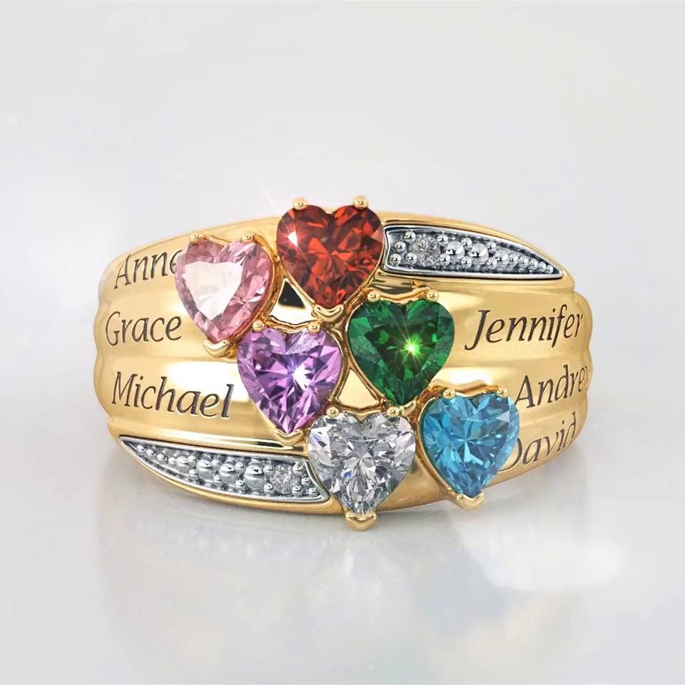 e67e6e4750cea3 Precious Hearts Personalized Birthstone & Diamond Ring - 8017-0046. Click  to Enlarge