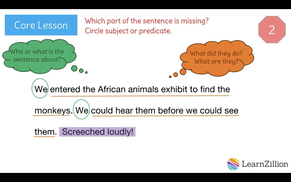 Recognize sentence fragments and produce complete sentences ...
