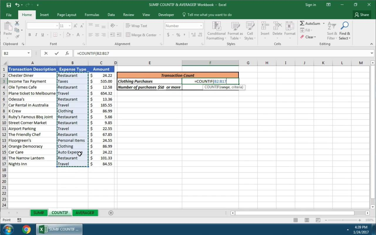 How to Use Excel COUNTIF, SUMIF, and AVERAGEIF