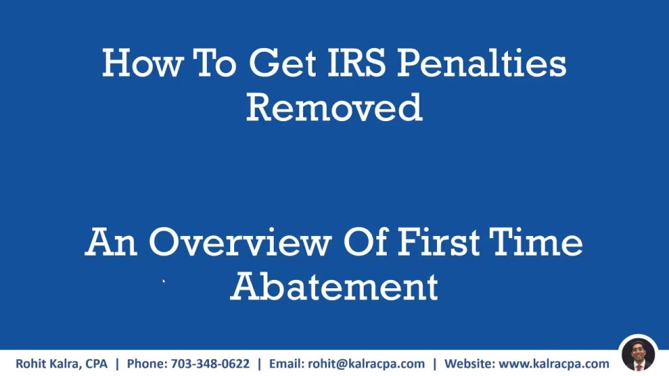 First Time Penalty Abatement   Kalra CPA