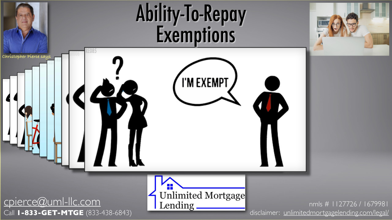 Are Any Lenders Exempt From Ability-To-Repay Rules? Unlimited Mortgage Lending