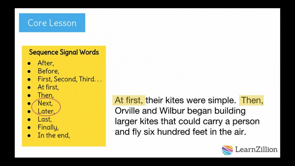 Use signal words to clearly show a sequence of events in your ...