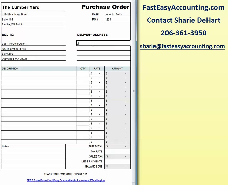 free contractor purchase order template excel