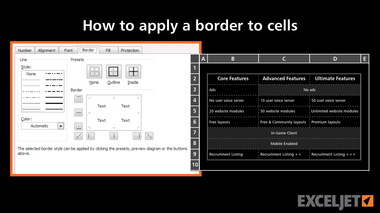 How to apply a border to cells in Excel