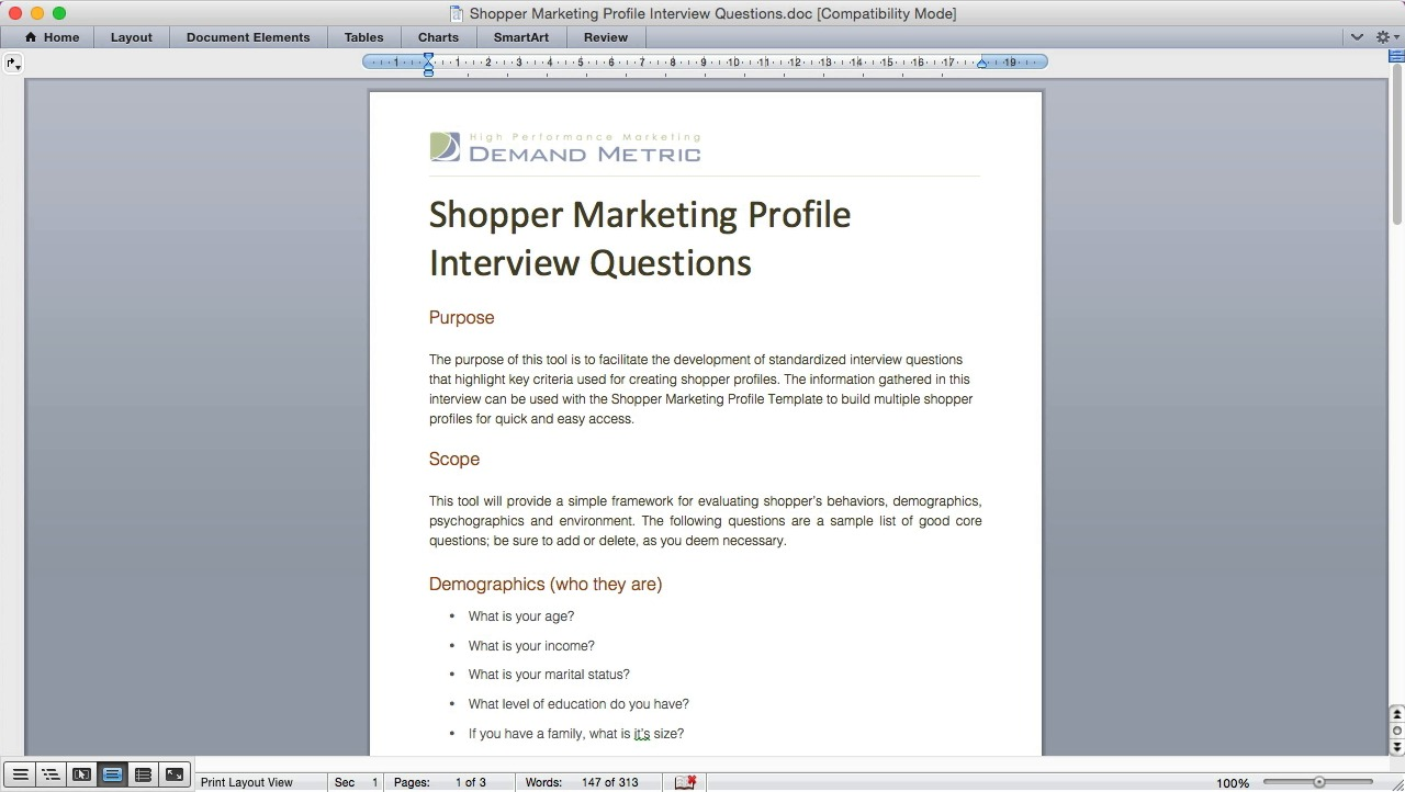 shopper marketing profile interview questions demand metric