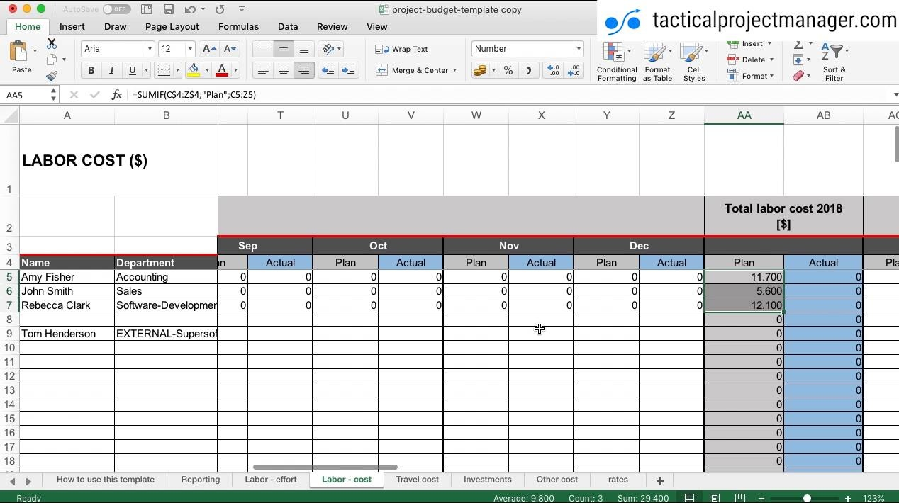 Tutorial: How to use the budget template