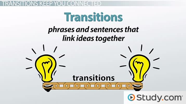 transitions in an essay