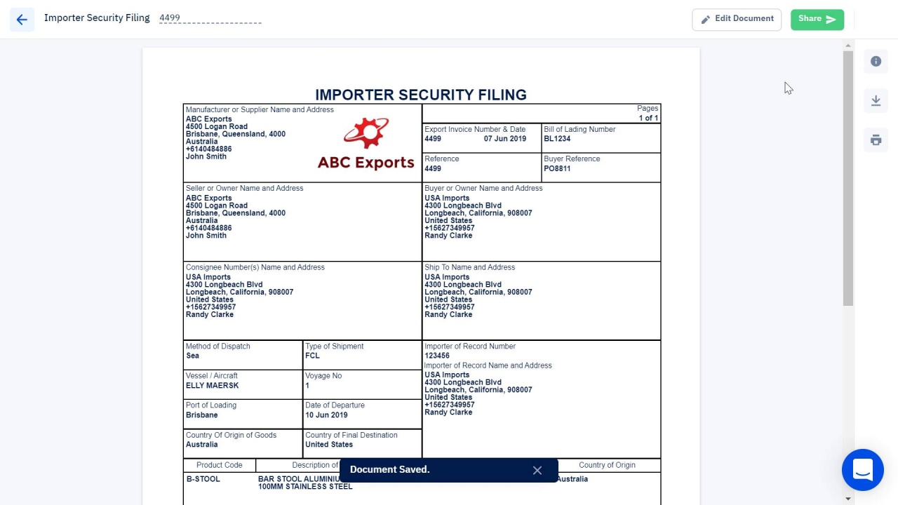 How to Create an Importer Security Filing Document