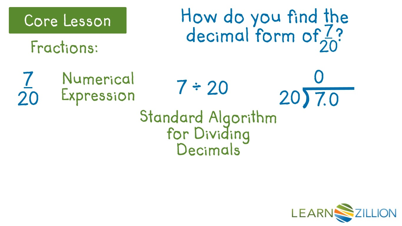 Convert fractions and mixed numbers to decimals | LearnZillion