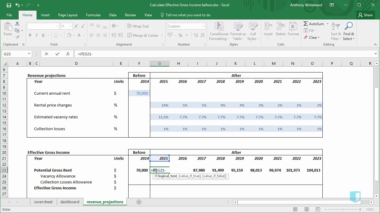 Calculate Effective Gross Income   Online Excel Training