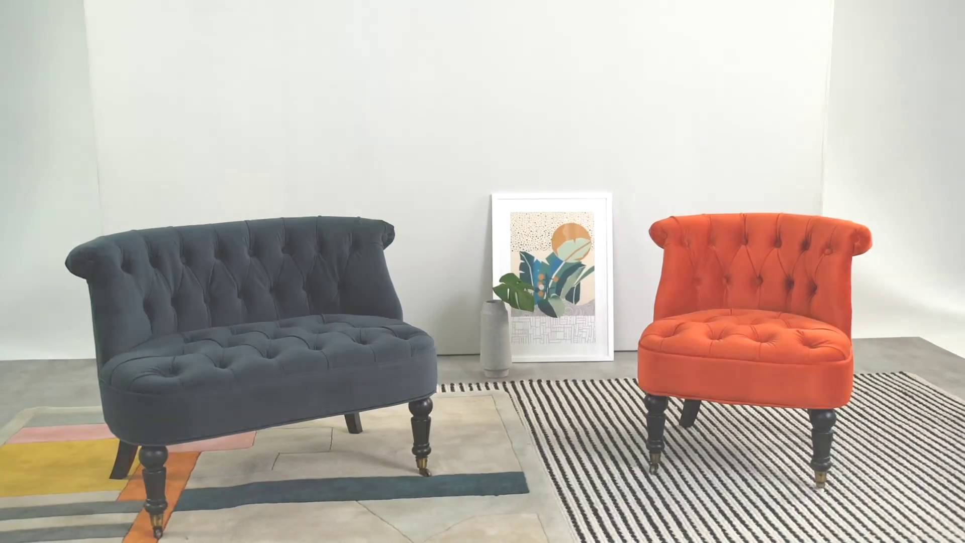 Accent Chair in Flame Orange Velvet, Bouji   MADE.com