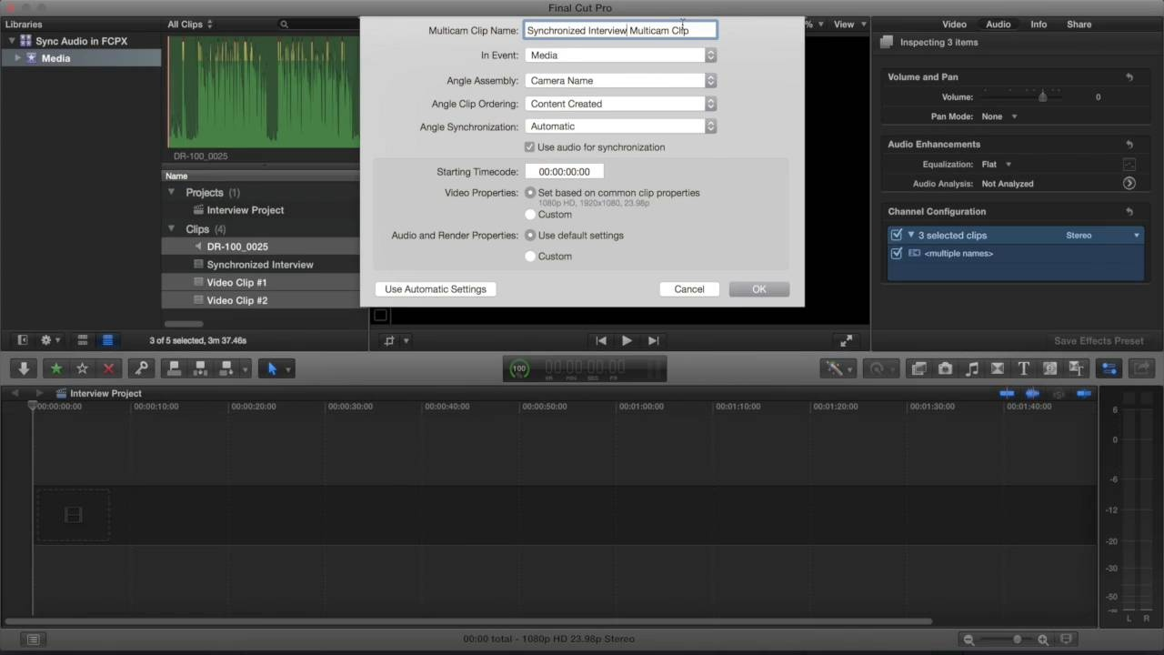 How To Synchronize Interview Audio In FCPX-compressed-auphonic