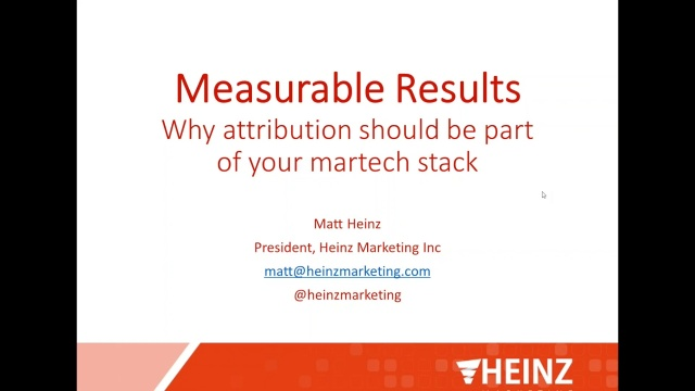 Wistia video thumbnail - Measurable Results: Why attribution should be part of your martech stack - Webinar with Matt Heinz