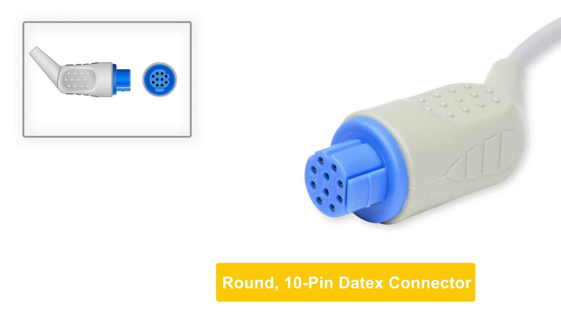 Datex Ohmeda Compatible Direct-Connect ECG Cable 3 Leads Snap
