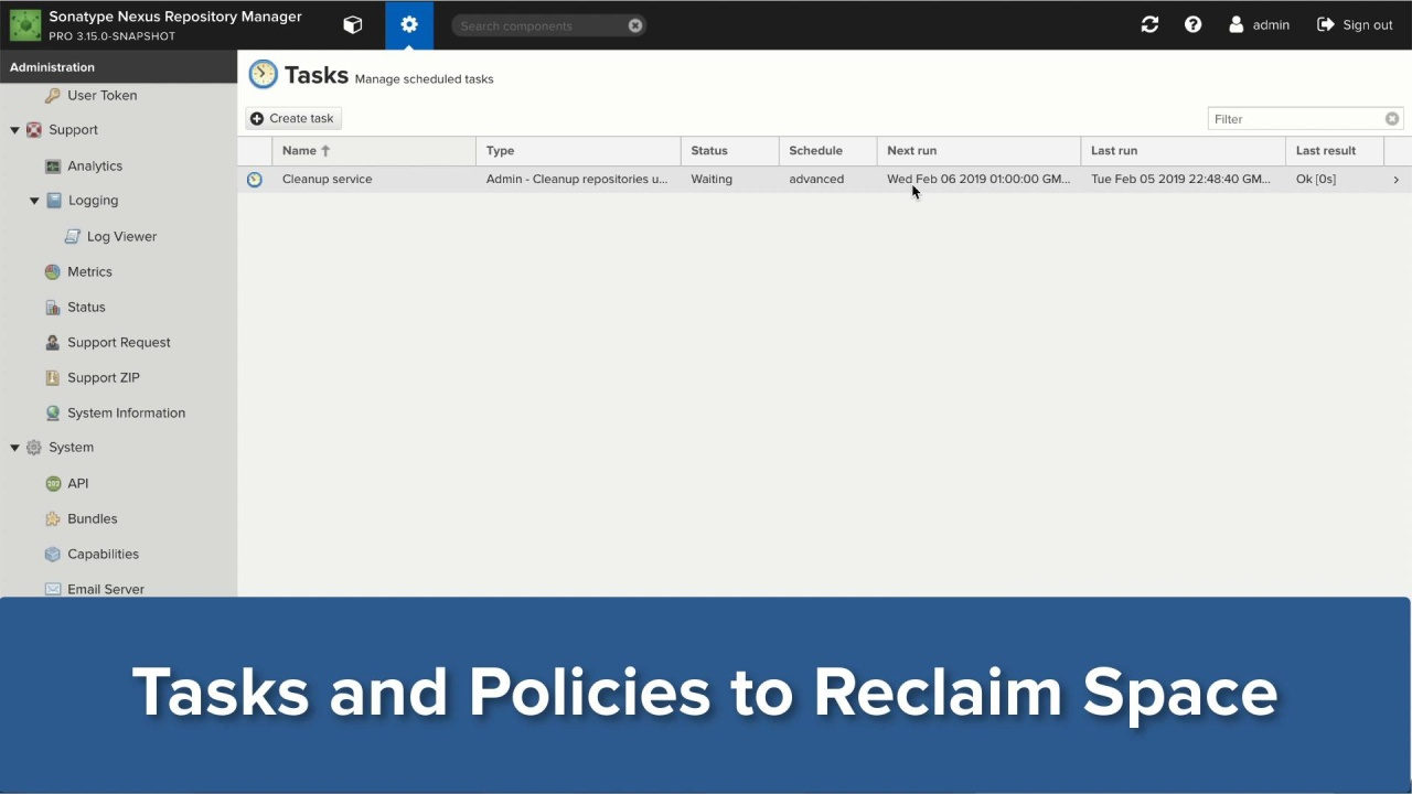 Tasks and Policies to Manage Storage