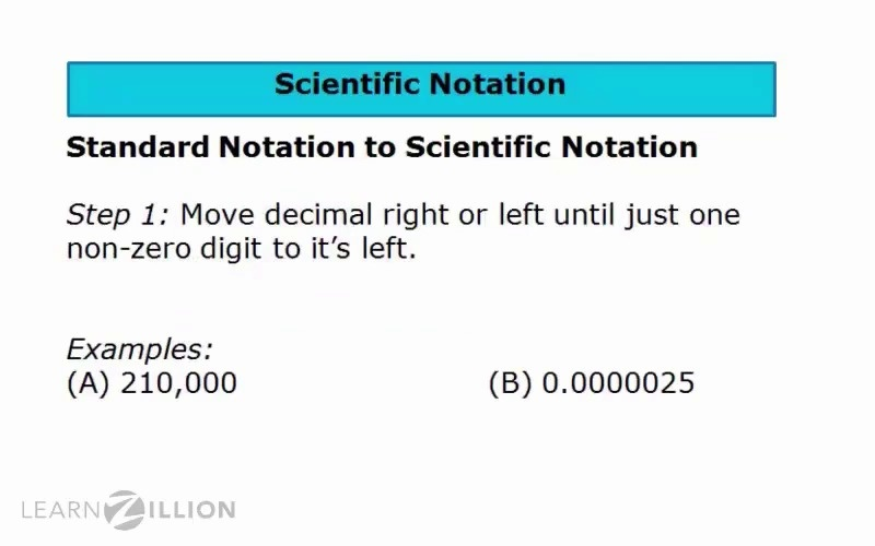 Lesson video for 'Convert from standard to scientific notation'