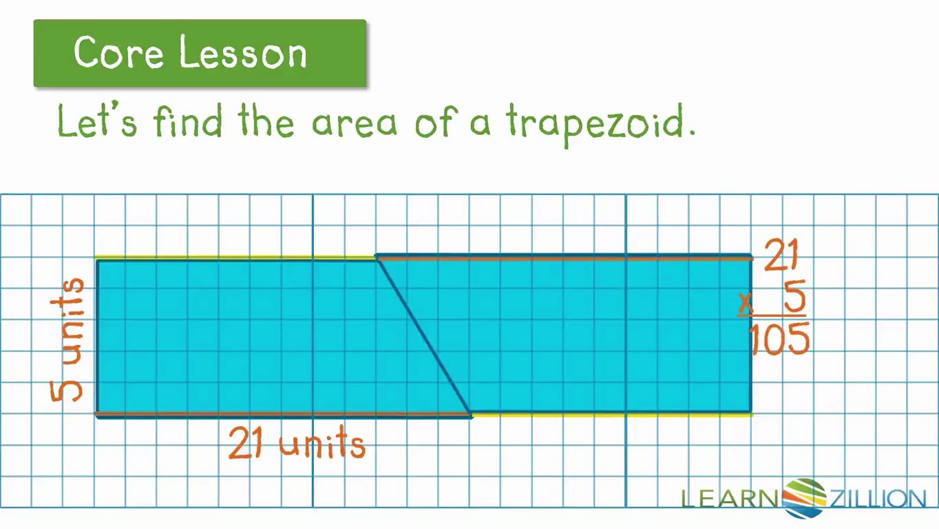 Find The Area Of A Trapezoid Byposing A Parallelogram  Learnzillion