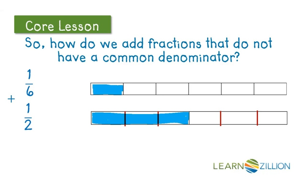 Add Fractions With Different Denominators Using Fraction Bars