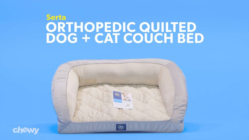 Excellent Serta Orthopedic Quilted Dog Couch Bed Tan Chewy Com Theyellowbook Wood Chair Design Ideas Theyellowbookinfo