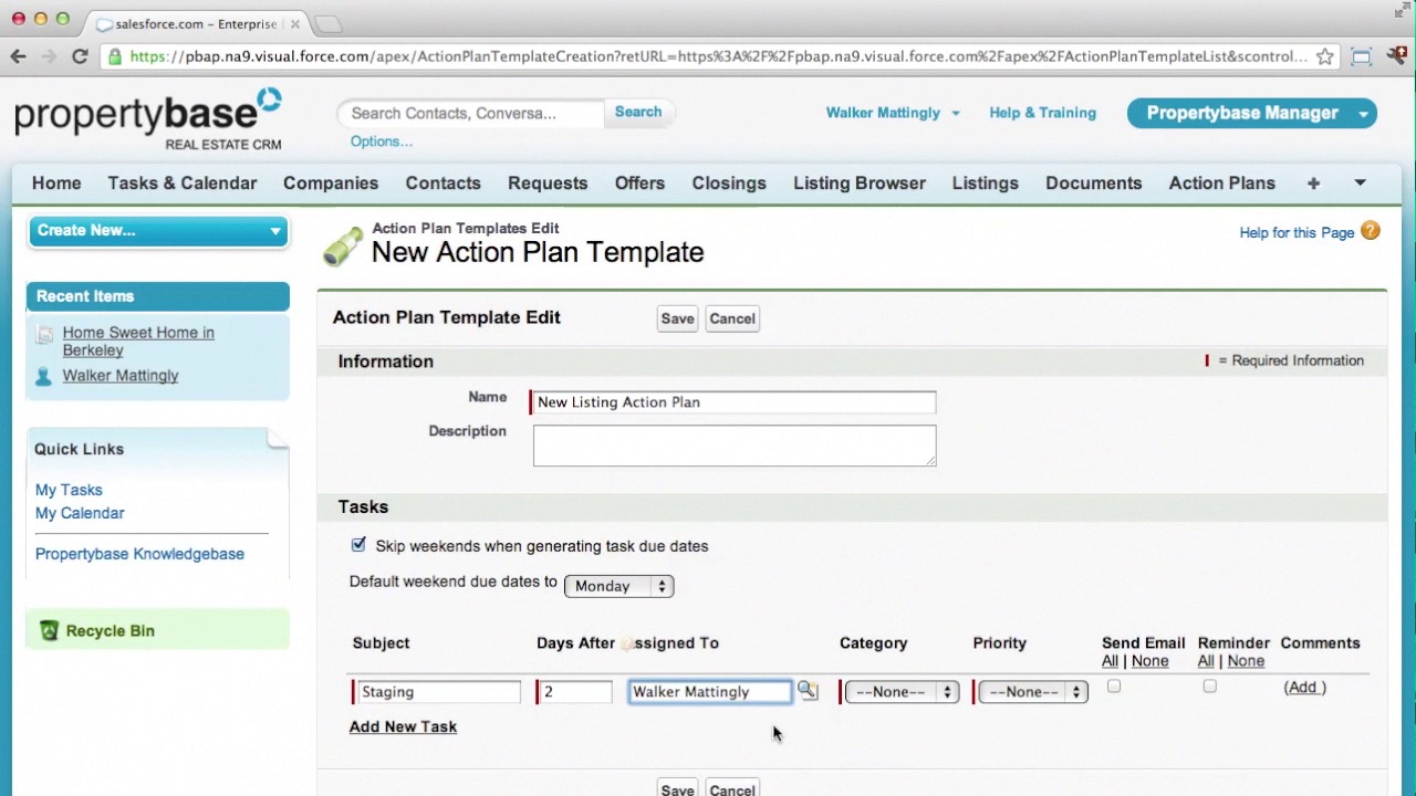 Action Plans Part 1 of 2 Set up Propertybase Help Center – Task Action Plan Template