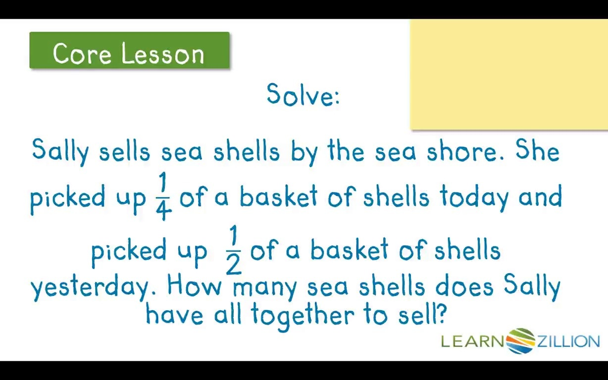 Lesson Video For Solve Word Problems Using Fraction Bars To Add
