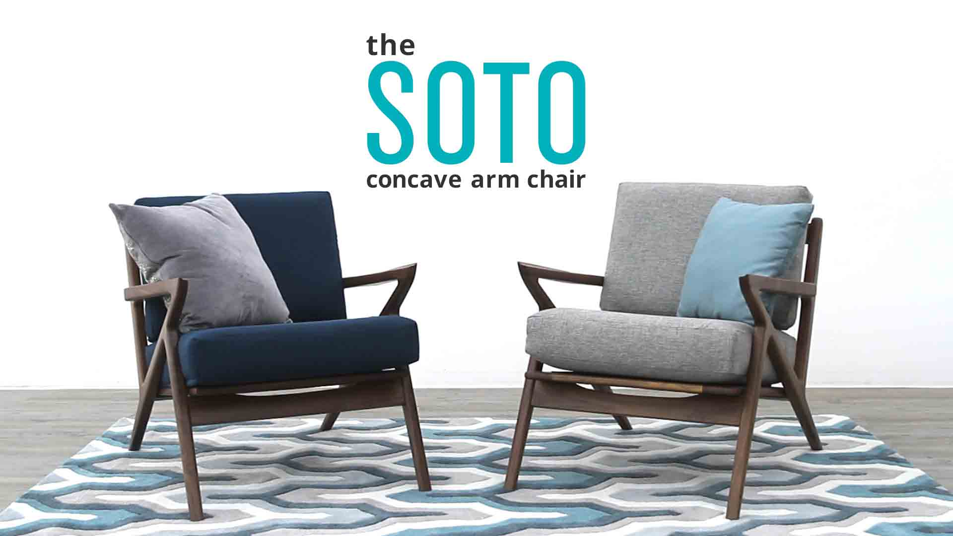 Soto Leather Concave Arm Leather Chair