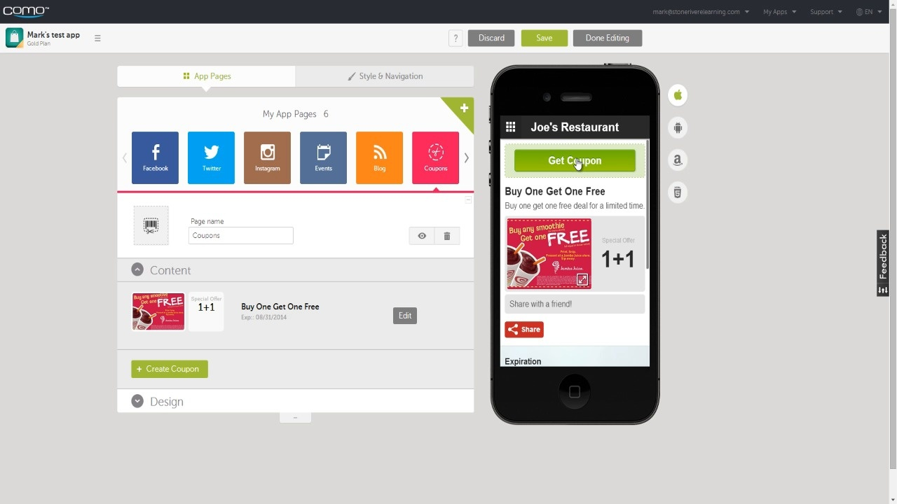 create coupons and loyalty cards swiftic