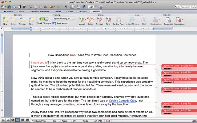 how to use track changes in microsoft word