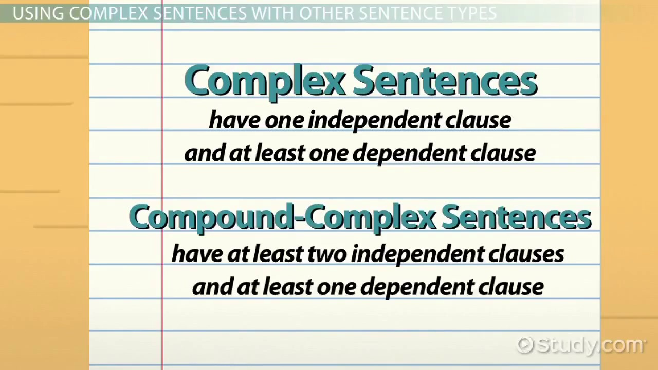 What is a Complex Sentence? - Examples & Concept - Video & Lesson ...