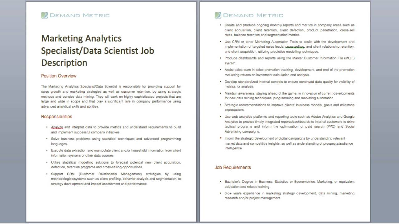 job description data quality analyst google verbs for marketing analytics specialist and data scientist job description