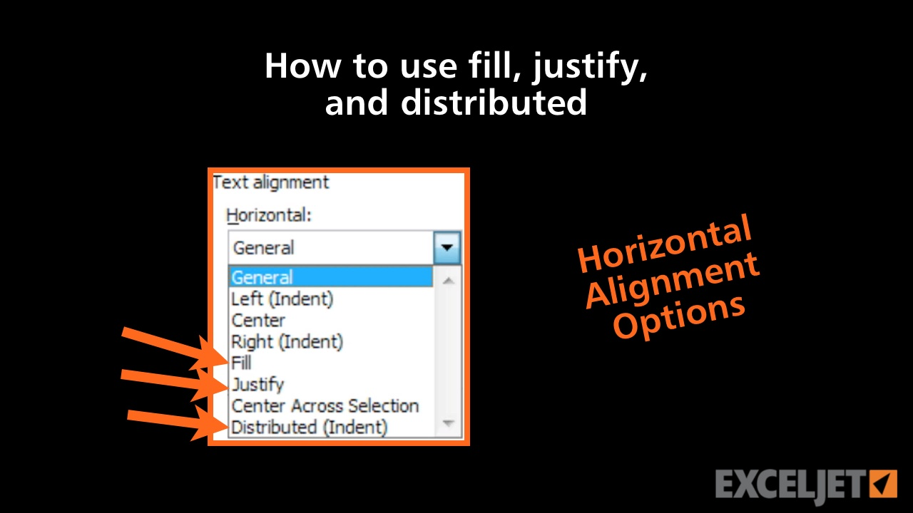How to use fill, justify, and distributed in Excel