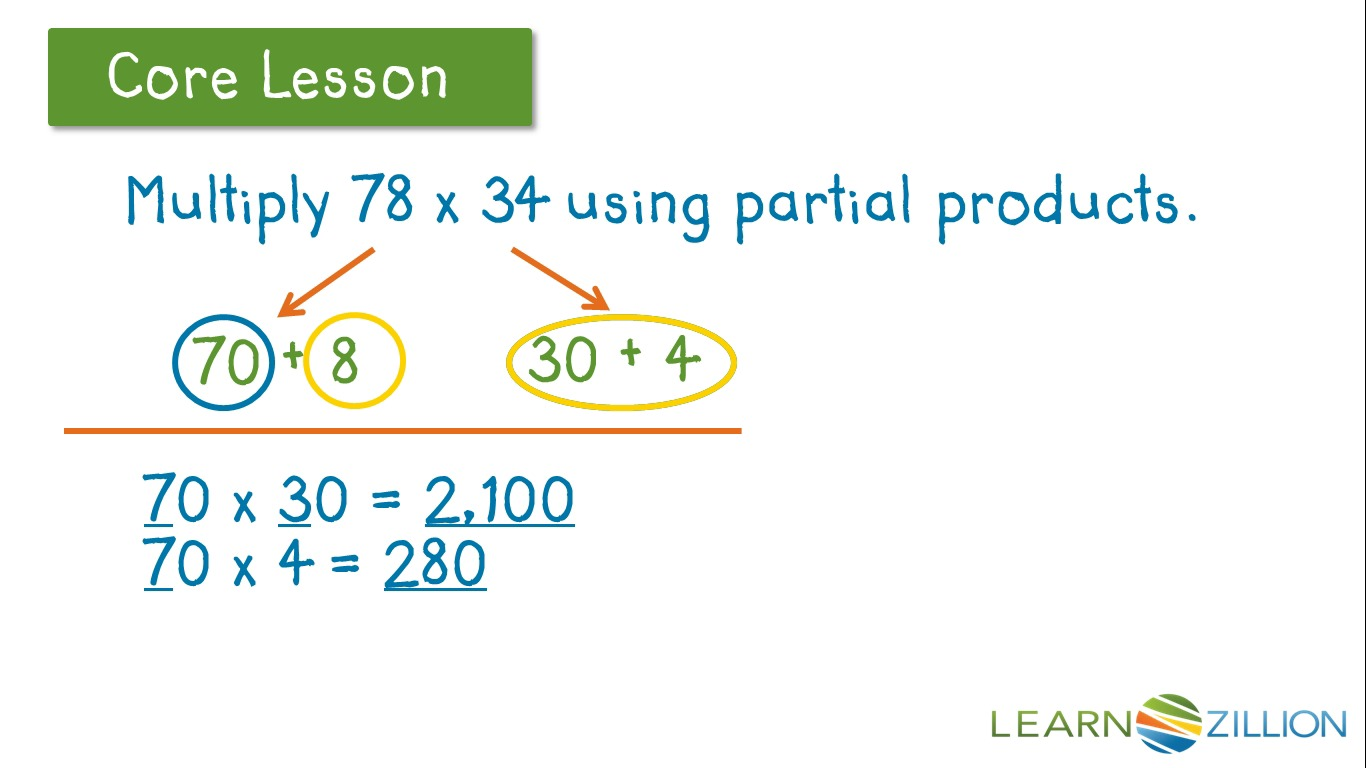 Use partial products for multiplication learnzillion falaconquin