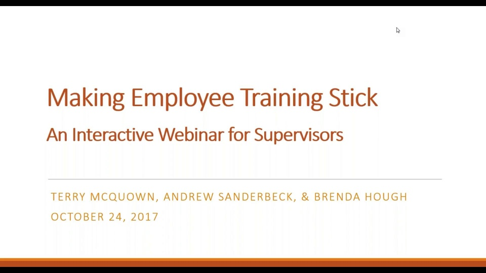 Wistia video thumbnail - Making Training Stick Webinar