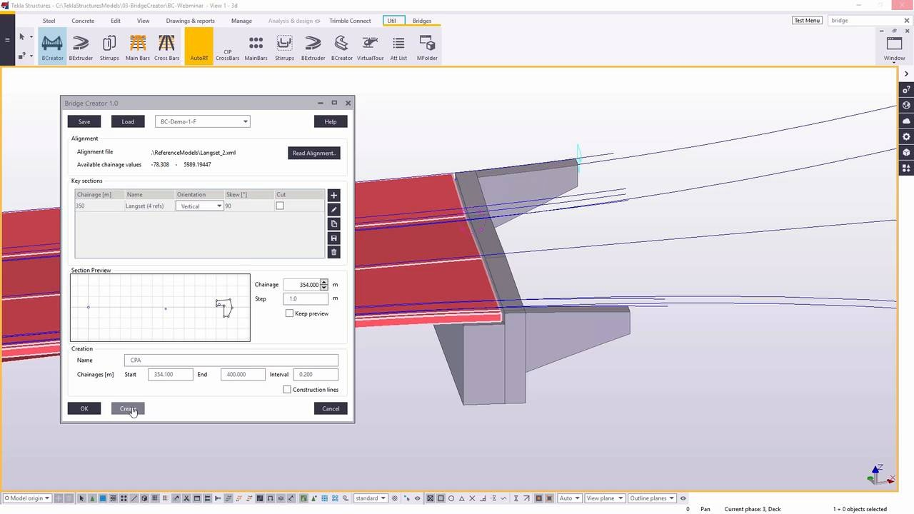 Tekla Structures for Bridge designers - from road alignment
