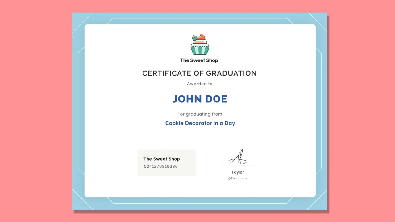 new feature create course completion certificates with teachable