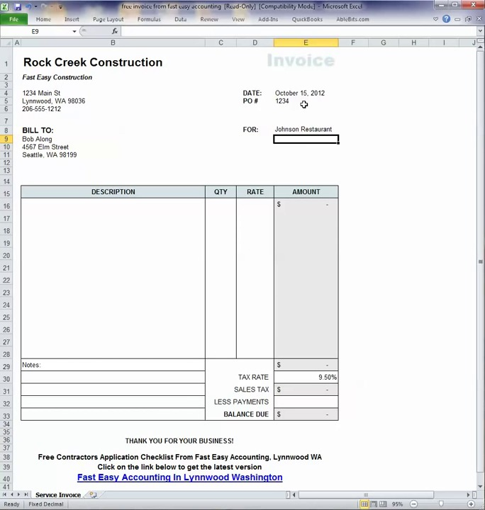 Free Contractor Invoice Template On Excel - Free contractor invoice forms christian book store online
