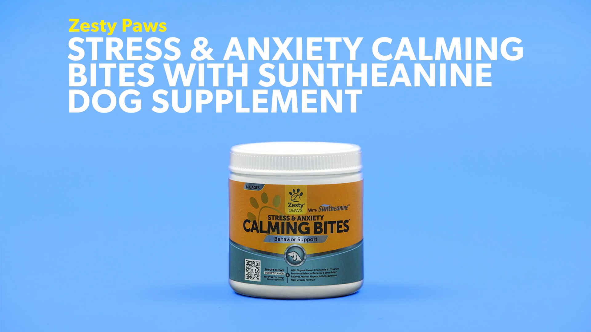 Zesty Paws Stress & Anxiety Calming Bites with Suntheanine Turkey Flavor  Dog Supplement, 90 count