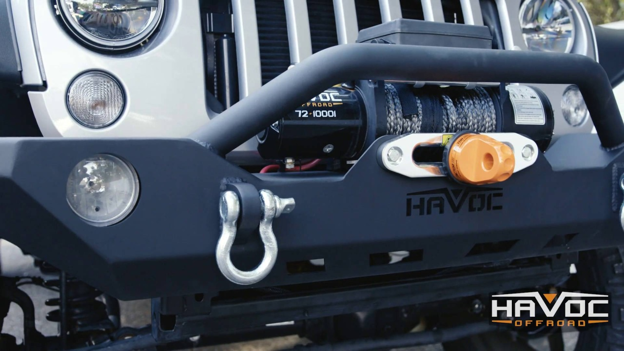 42 10207 Havoc Gen 2 Wrecking Ball Front Bumper With Light Cutout Jeep Wrangler Jk Fog Lights Full Width 07 18 Jku