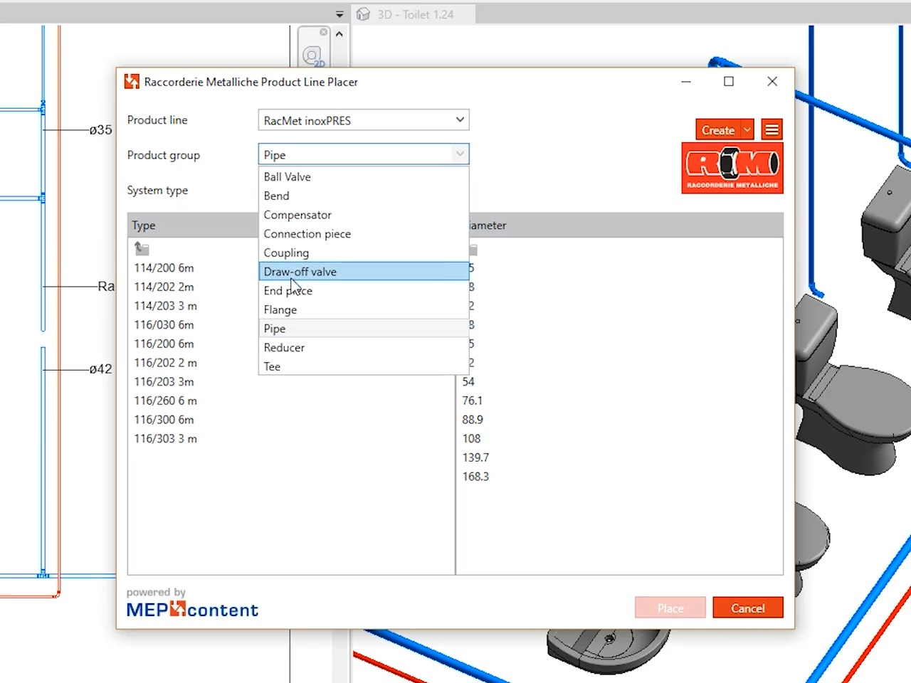 Raccorderie Metalliche - Product Line Placer App for Revit