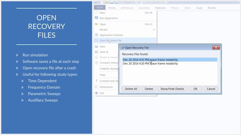 How and When to Open Recovery Files in COMSOL Multiphysics®   COMSOL