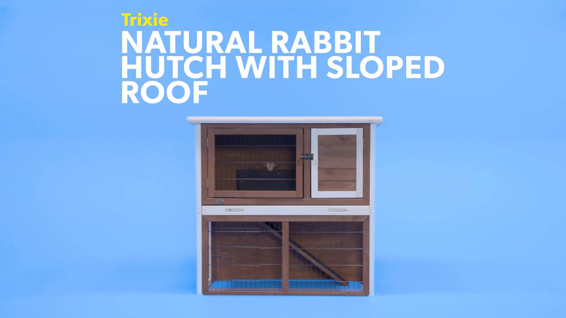 medium x roof beds ft enclosure cages with p hutch sloped trixie rabbit