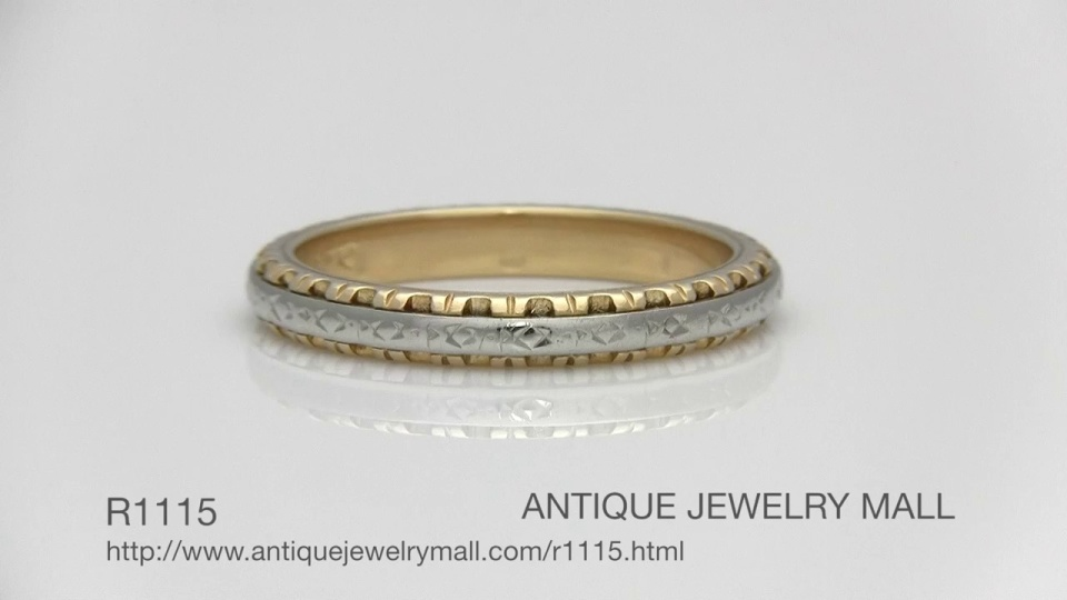 Two Tone Engraved Art Deco Filigree Vintage Wedding Ring In 14k Yellow And White Gold Video Thumbnail
