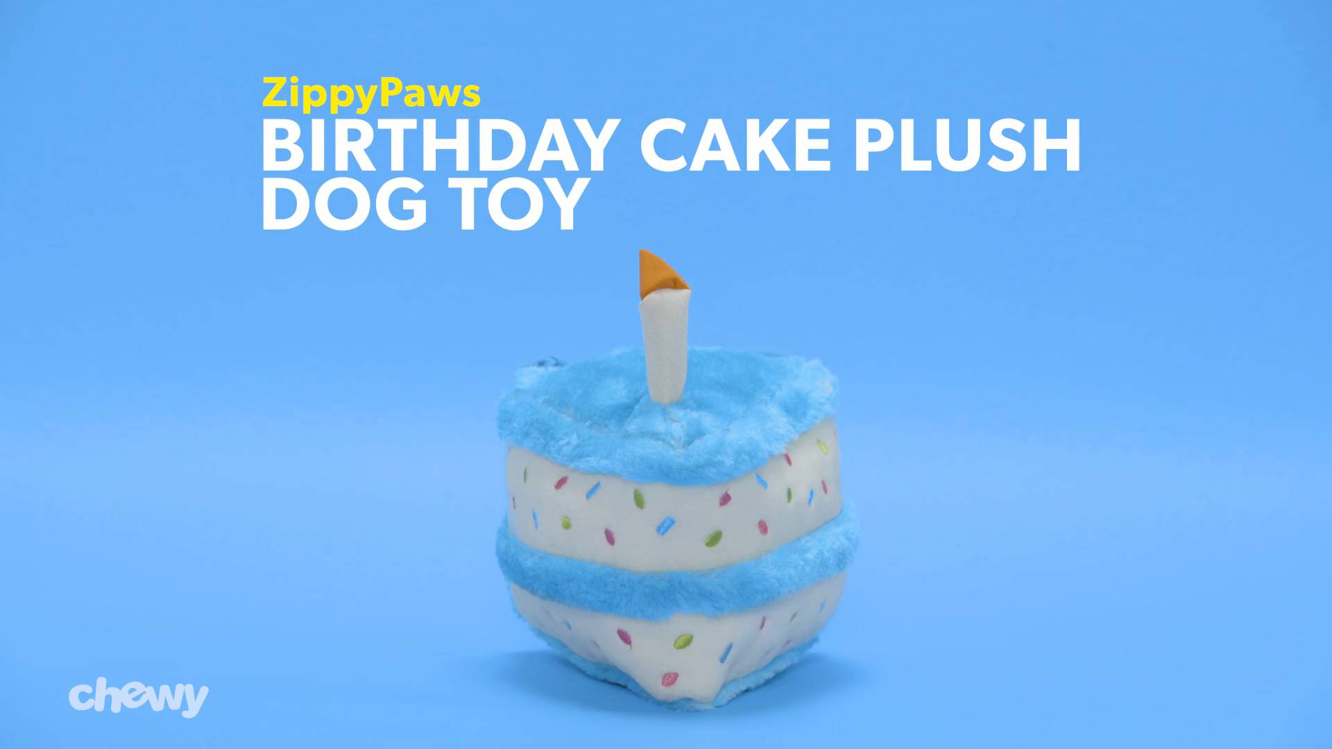 Zippypaws Birthday Cake Plush Dog Toy Blue Chewy
