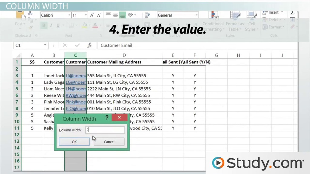 Adjusting Column Width & Row Height in Excel - Video & Lesson ...
