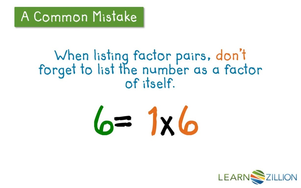 Find All Factor Pairs Of A Number Using A T Chart Learnzillion