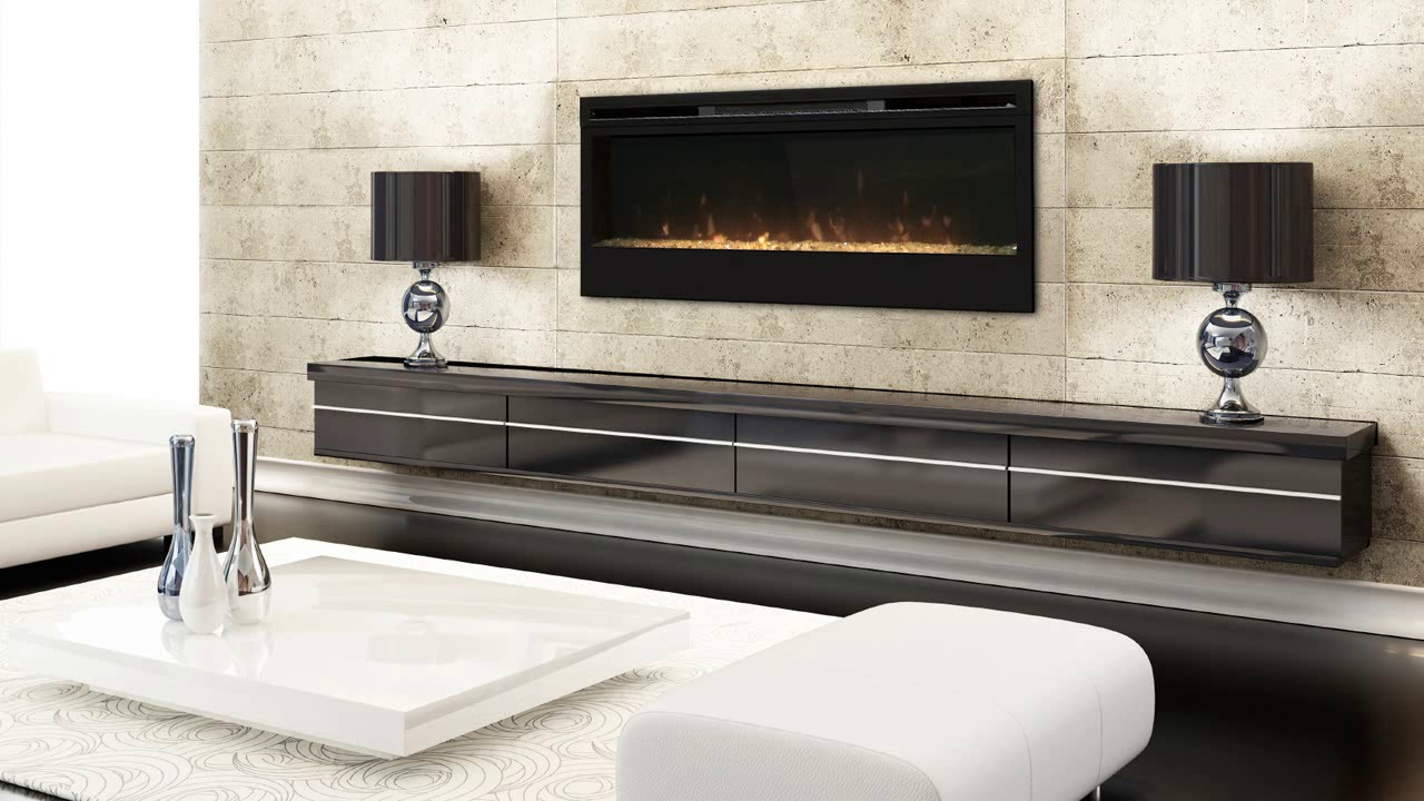 Dimplex Synergy 50-Inch Electric Wall Mount Fireplace featuring a glass ember bed. Get fast free shipping