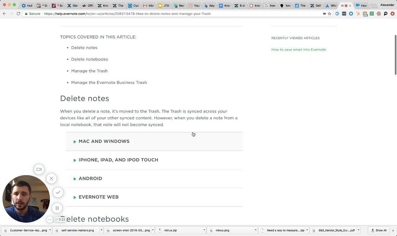 Wistia video thumbnail - Evernote UX walkthrough (Knowledge Base)